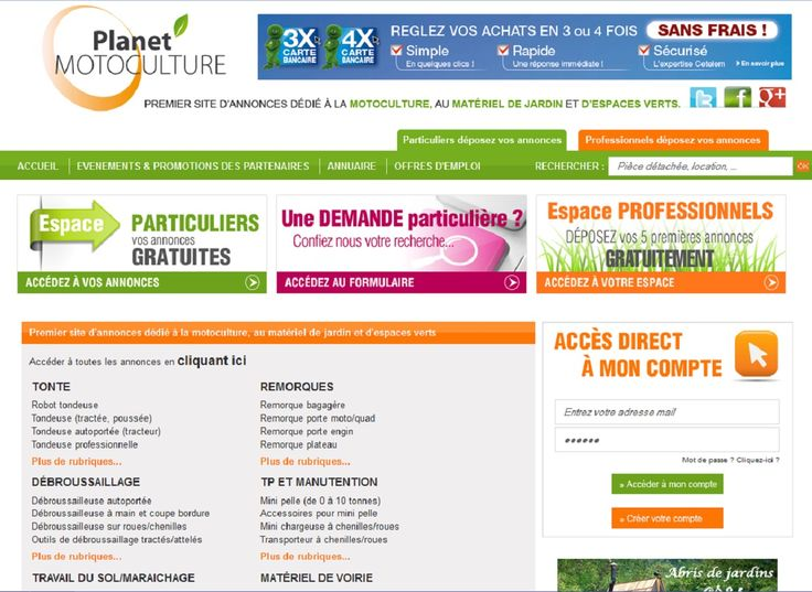 Planet'Motoculture est le premier site d'annonces dédié au matériel de jardin et d'espaces vert. Annonces de tondeuses à gazon, annonces de motoculteurs, annonces de micro tracteurs, annonces de broyeur de branches, annonces de mini pelles...