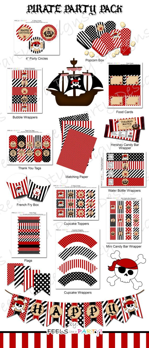 Pirate Party Pack Printable Instant Download by FeelsLikeAParty - This super fun pirate party listing includes a DIY printable party kit that is available as an instant download! Includes: Cupcake Toppers, Popcorn Boxes, Bubble Wrappers, Clip Art, Food Cards, Thank You Tags, Matching Papers, Candy Bar Wrappers, French Fry Boxes, Water Bottle Labels, Paper Straw Flags, Cupcake Wrappers, and Banner.
