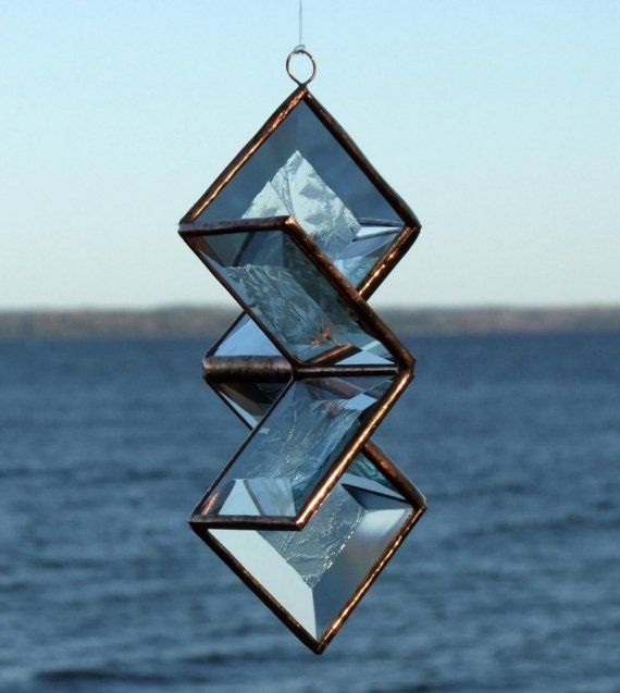 3D Clear Frosty Beveled Stained Glass Star by SNLCreations on Etsy, $35.00