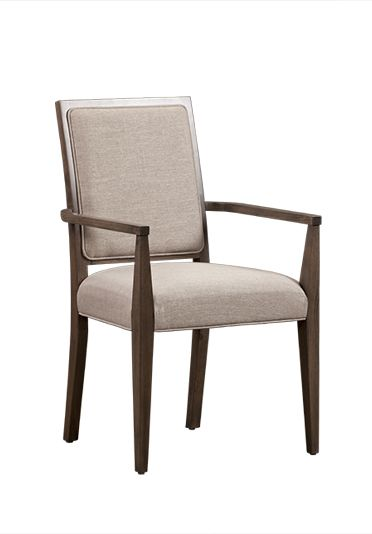 Selected Kitchen Chairs x 2:  Finish & Material TBD  Anne - like - UPPER - Custom Craft #7429 Geneva Arm Chair with upholstered Living Seat Webbing - Dine Art side to match