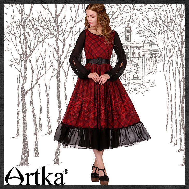 Комбинированное платье средней длины в стиле ретро, 43881370417 купить за 11250 руб. с доставкой по России, Украине, Беларуси и миру | Платья | Artka: интернет-магазин обуви и одежды Artka