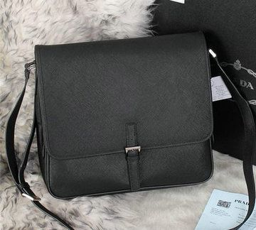 Prada Saffiano Leather Messenger Bag VA3081 Black