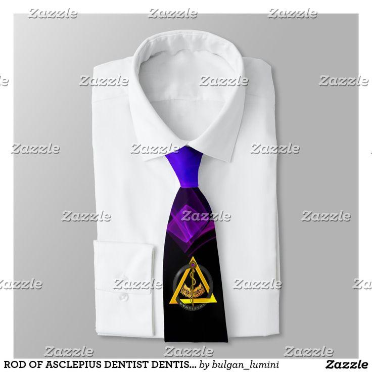 ROD OF ASCLEPIUS DENTIST DENTISTRY Black Purple Tie