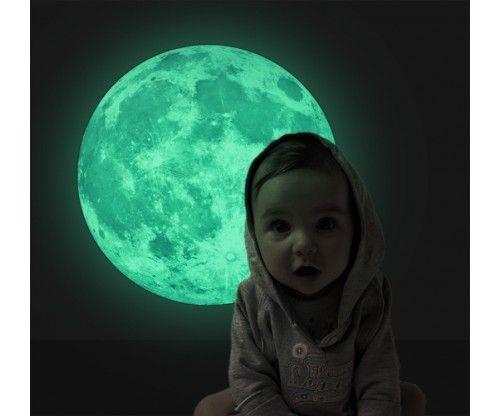 Plafonra, falra ragasztható fluoreszkáló, világító hold. Gyerekszoba dekoráció - ajándék ötlet