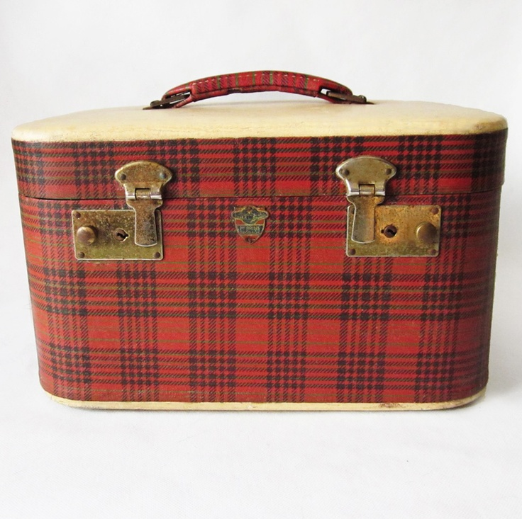 Vintage red plaid train case - I have a similar train case in a sort of houndstooth print. Adorbs!