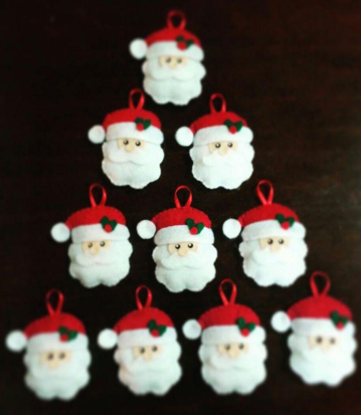 Adornitos navideños para el árbol #fieltro #santa #hiloyaguja #navidad #echoamano