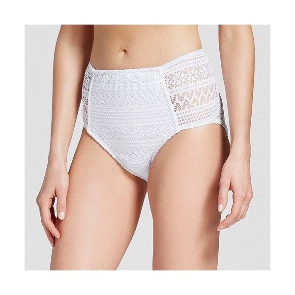 Women's Crochet High Waist Bikini Swim Bottom ($25) ❤ liked on Polyvore featuring swimwear, bikinis, bikini bottoms, white, crochet bikini bottom, high-waisted bikinis, white high waisted bikini, high waisted bikini bottoms and bikini bottom
