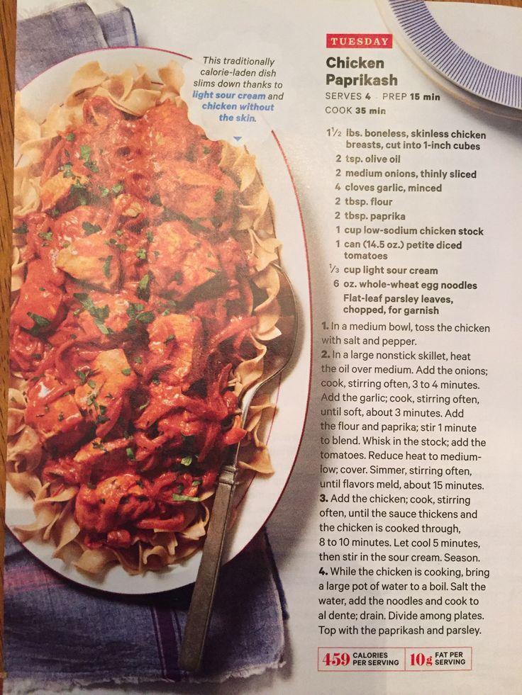 Chicken paprikash (Rachel Ray magazine)