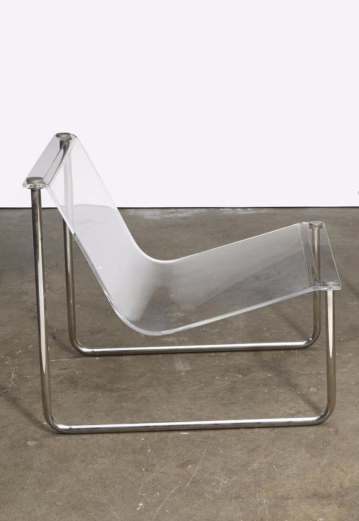 Charles Hollis Jones; Acrylic and Chromed Metal 'Airstream' Sling Chair for CHJ Designs, c1968.