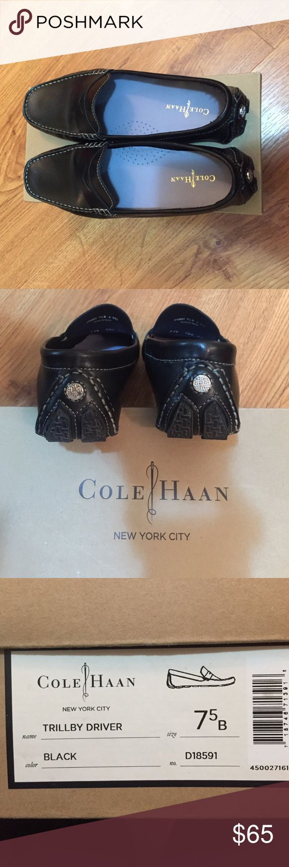 Cole Haan Trillby Driver-Black Beautiful BRAND New stylish and comfortable BLACK leather Cole Haans. Original box! They are to big for me. Cole Haan Shoes Flats & Loafers
