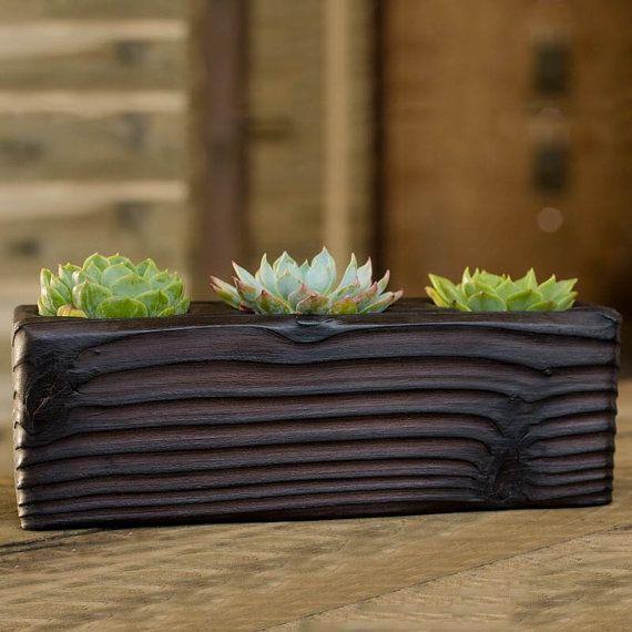 Three Succulent Shou Sugi Ban Wood Planter by HammerandBrush, $70.00