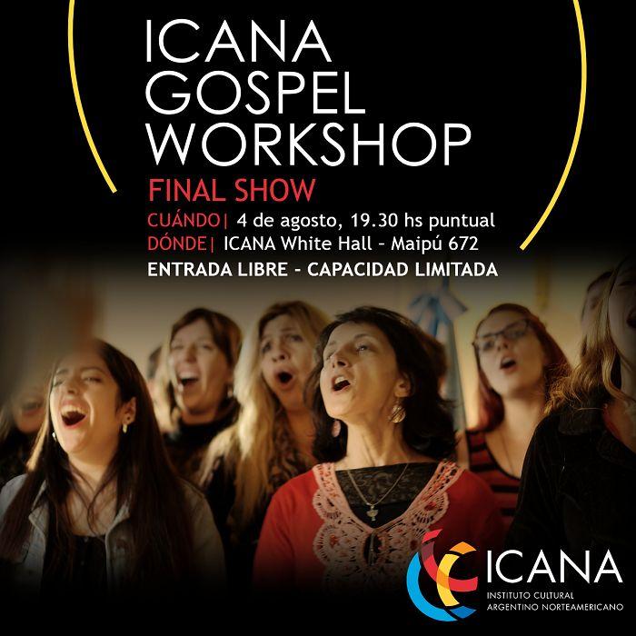 Este jueves a las 19.30hs es el concierto de cierre del ICANA Gospel Workshop. Lamentablemente ya no hay más localidades disponibles, pero podés verlo en vivo a través de YouTube: http://www.youtube.com/watch?v=lKFQMwNXW2Y