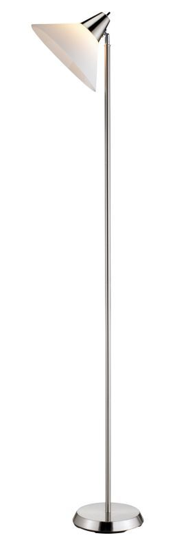 """Adesso 3677 Swivel 1 Light 21"""" Tall Torchiere Floor Lamp with Acrylic Shade Brushed Steel Lamps Floor Lamps"""
