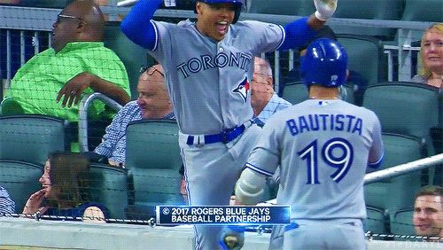 Marcus Stroman after hitting his first HR. 05/18/2017: Toronto Blue Jays @ Atlanta Braves (Source: MLB.TV) Tumblr | Patreon