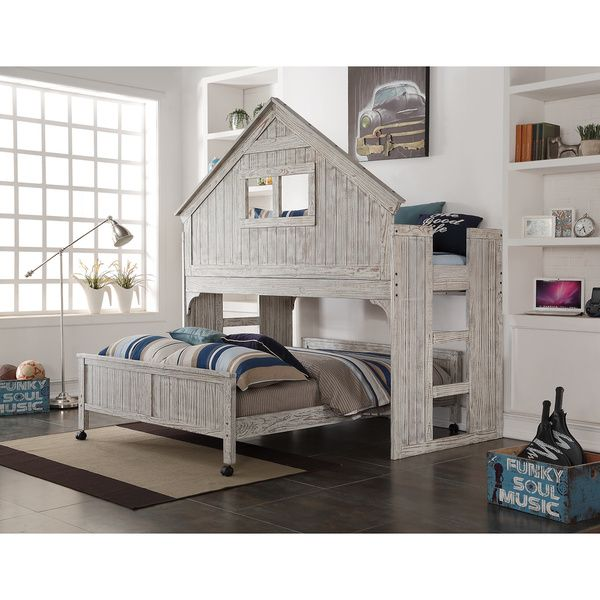 This is such a cool kid's bed!  Would love to find plans to build something like this.  Donco Kids Brushed Driftwood Finish Club House Low Loft with Full-Size Caster Bed