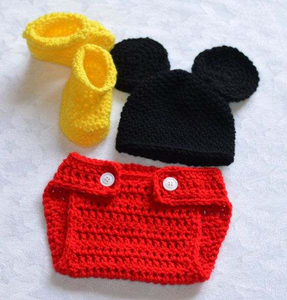 Crochet Newborn Baby Boy Mickey Mouse Photo Prop by ChildishDreams, $17.50