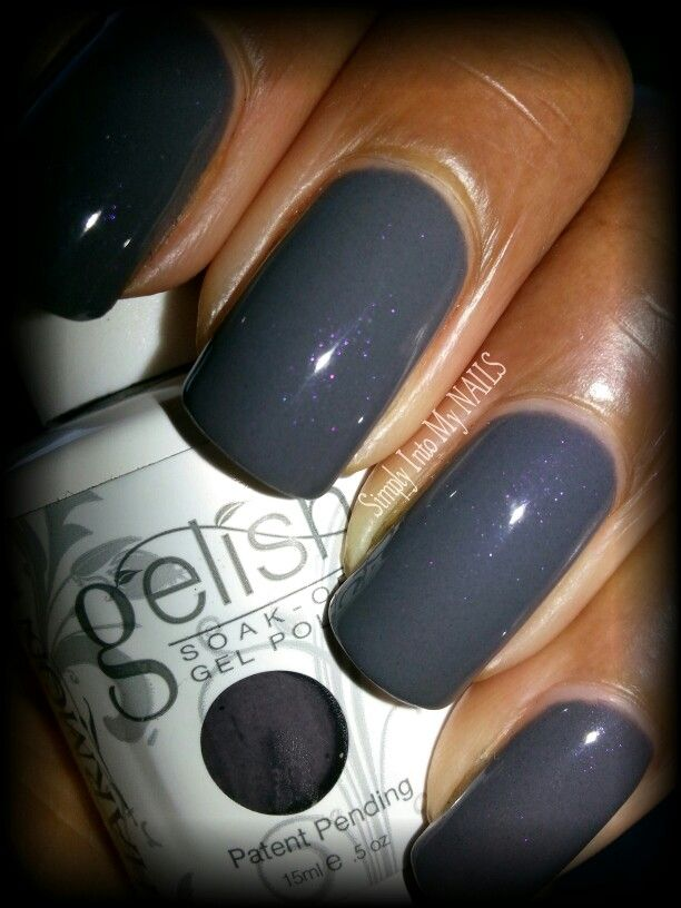 Poster says: Gelish Jet Set. OMG this color is gorgeous.. it is a dark gray with tiny little purple flecks (which can only be really seen in direct sunlight).. I die for this color!!!