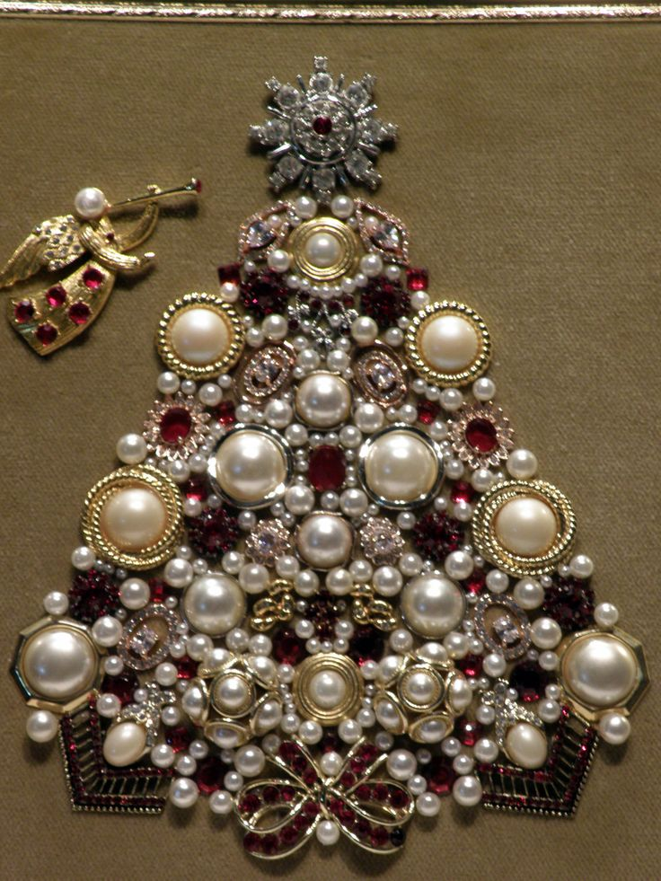 Vintage Jewelry Christmas Tree - Pearls & Reds Trumpeting Angel