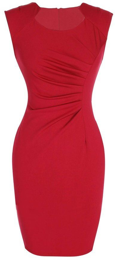 Sweet Heart Neck Slim Red Dress
