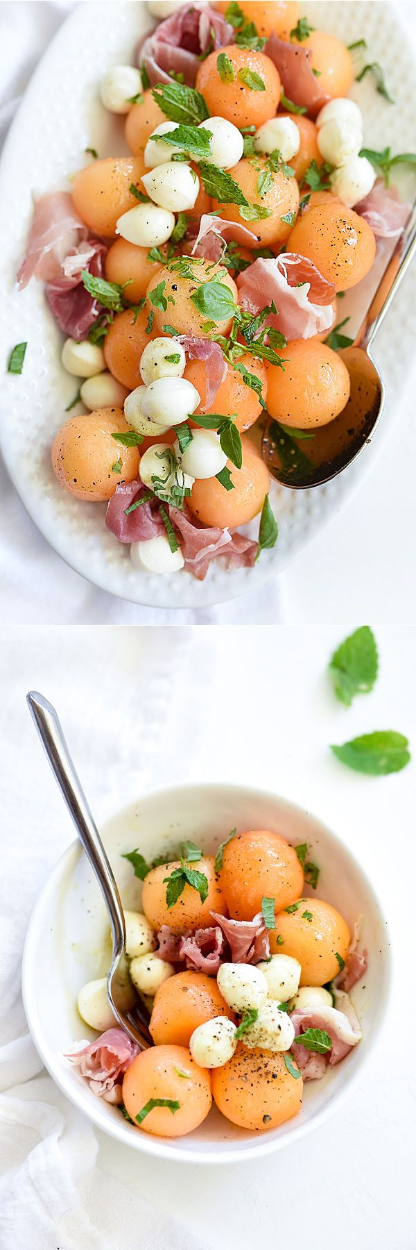 This recipe would be perfect for wedding appetizers! Especially in mini appetizer servings. Sweet melon subs in for tomatoes in my favorite spin on #capresesalad | foodiecrush.com