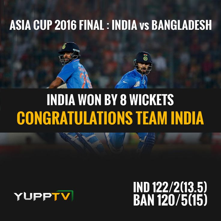 #asiacupfinals: #India continue their unbeaten march and won by 8 wickets, clench the Asia Cup Series. #teamindia lifted the trophy after two weeks of battles between the five Asian countries. Catch the highlights of #AsiaCupT20Final #INDvsBAN match @ http://www.yupptv.com/cricket/asiacup.html