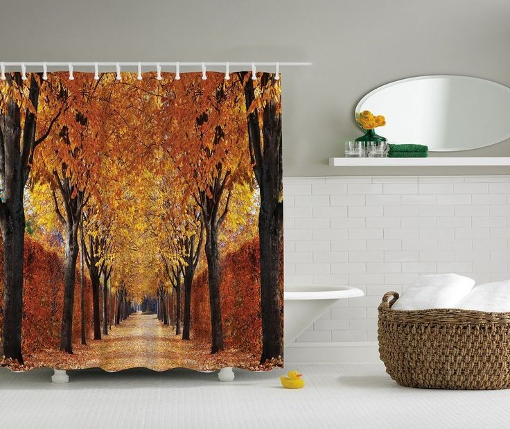 Amazon com   Autumn Trees Yellow Leaves Country Lane Fall Design Digital  Graphic Photo Print   Shower Curtain SetsShower CurtainsWaterproof  82 best Pete Needs a Shower Curtain too  images on Pinterest  . Orange Shower Curtain Liner. Home Design Ideas