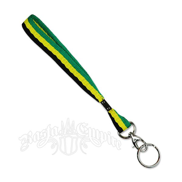 9 1/2 inch x 3/4 inch lanyard style keychain done in Jamaican colors.