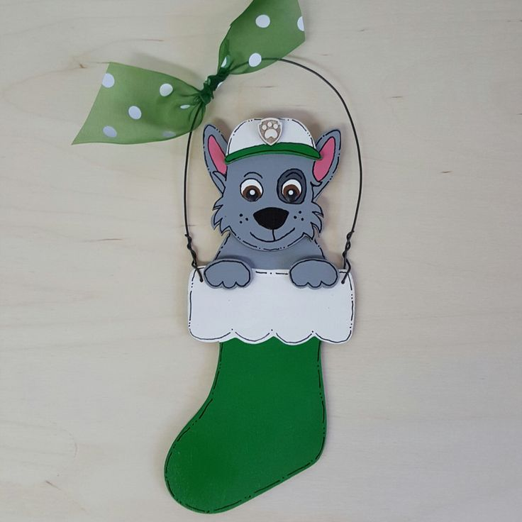 A personal favorite from my Etsy shop https://www.etsy.com/listing/477656133/rocky-paw-patrol-christmas-ornament
