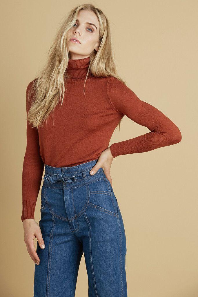 Delilah Turtleneck Sweater in Rust | SHOP