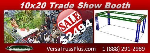 10×20 Trade Show Booths On Sale NOW!  The dream trade show booth, the VersaTruss Plus 10×20 aluminum truss trade show booth is the perfect economical solution for all  10x20 Trade Show Booth Sale While Qtys  exhibitors. This fabulous exhibit booth is available in three (3) and four (4) cord configurations in either four (4) or six (6) leg designs.