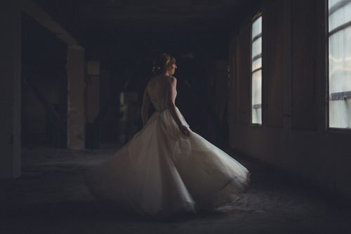 Fine-art wedding photographs. www.Patinaphotography.co.nz Kylie in an abandoned building