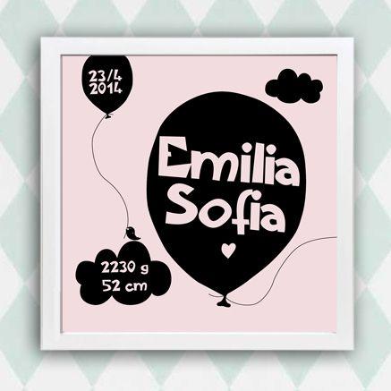 Anna Göran Design - Födelsetavla - Ballong Personlig namntavla, födelsetavla. Går att få med barnets namn, vikt, längd och födelsedatum.
