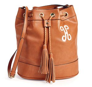 Beautiful bucket purse and personalized for free  Signature Gold Bucket from Initials Inc in Saddle:
