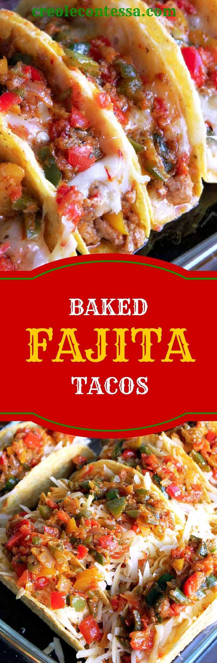 Creole Contessa's Baked Fajita Tacos are the perfect way to spice up your OXO Glass Bakeware.
