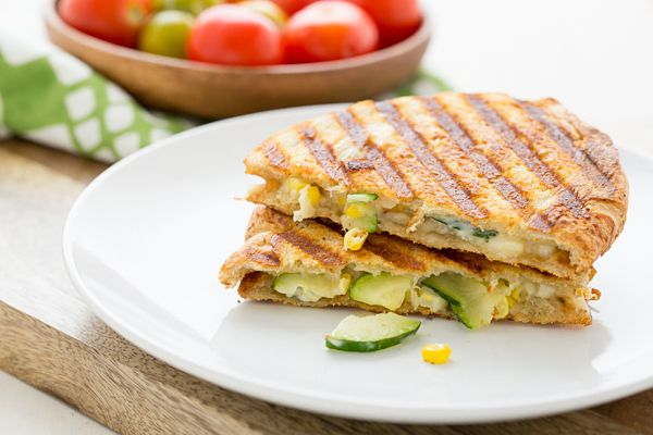 Corn in a sandwich? Yes! It's delicious! This Zucchini & Corn Panini with Pepper Jack Cheese is the perfect summertime lunch.