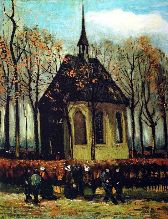 Vincent Van Gogh - Post Impressionism - La Sortie de l'église de Nuenen - 1884