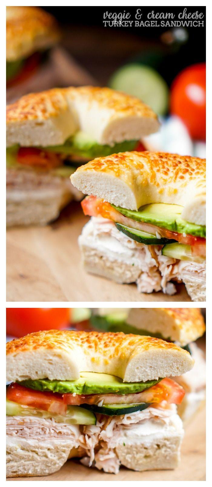 Veggie and Cream Cheese Turkey Bagel Sandwich - Spruce up lunch with a tasty bagel sandwich filled with delicious cream cheese, turkey and fresh veggies! | The Love Nerds