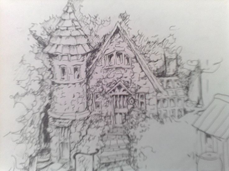 a pencil sketch on paper of another cottage. brilliant detail. :)