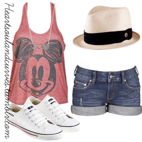 Summer Outfit! SO CUTE! Love it!!!!!! Pair any tank with a cute and hat and jean shorts for this casual spring/summer look.