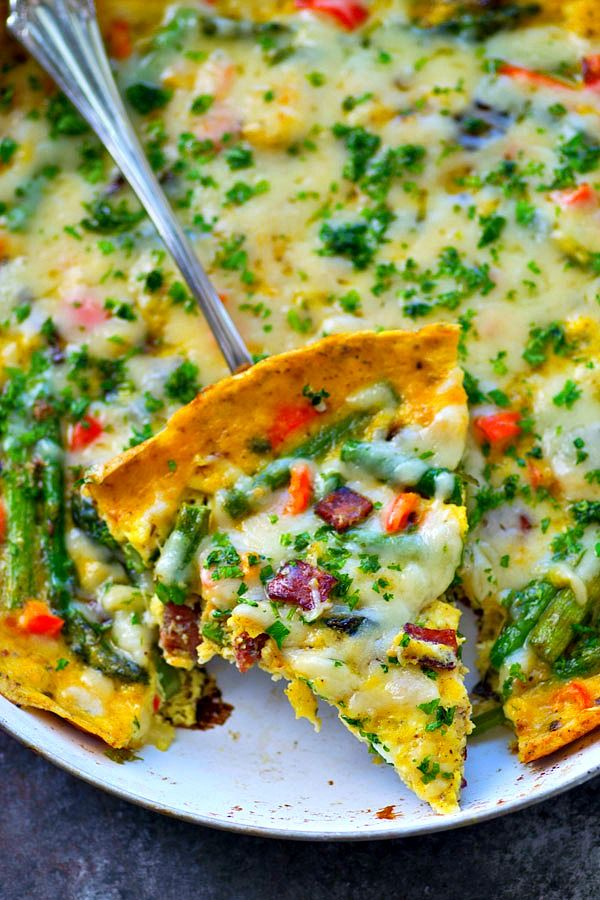 Swiss Cheese Asparagus Bacon Frittata | Recipe | Asparagus ...
