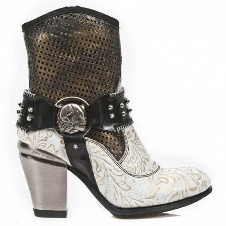 Bottines New Rock Texas Vintage Flower Blanches et Or M.TX005-C4