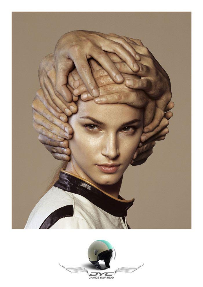 "Bye Helmets ""Change Your Head"" // Agency: 1861 United, Milan, Italy / Art Director: Giorgio Cignoni / Copywriter: Luca Beato / Creative Directors: Pino Rozzi, / Roberto Battaglia / Photographer: Fulvio Bonavia  //  http://www.byehelmets.com/en/curiosita.htm"