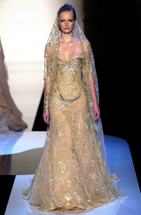 luxury gold wedding dress