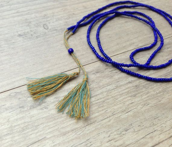 Navy Blue Long Beaded Necklace Yellow Turquoise by PiscesAndFishes, $22.00