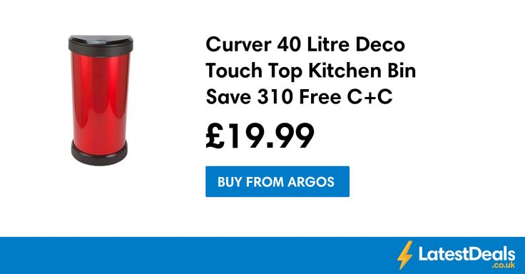 Curver 40 Litre Deco Touch Top Kitchen Bin Save £10 Free C+C, £19.99 at Argos