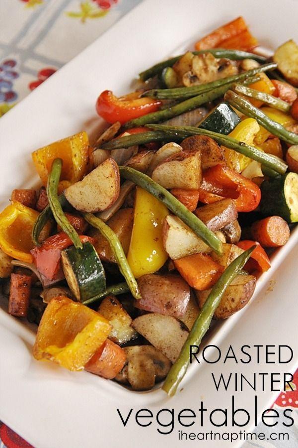 Roasted Winter Vegetables ~ via http://www.iheartnaptime.net/roasted-winter-vegetables/