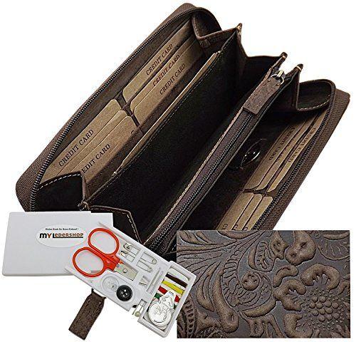 Voll-Leder Damenbörse mit Reißverschluss Schöne Liane Optik mit Hoch-Tief-Struktur Echt Vollrindleder Maße: 19,5cm x 3cm x 9,5cm 5 große Einsteckfächer, 2 davon hinter den Scheckkartenfächern, für z.B. Geldscheine oder für kleine und mittlere Handys geeignet 1 Fach für z.B. Fahrzeugschein, Ausweis, alter rosa Führerschein Großes Kleingeldfach mit eigenem Reißverschluss 12 Scheckkartenfächer Inkl. Einkaufswagenchip mit eigenem Steckfach Aussen Reißverschluss rundherum - so...