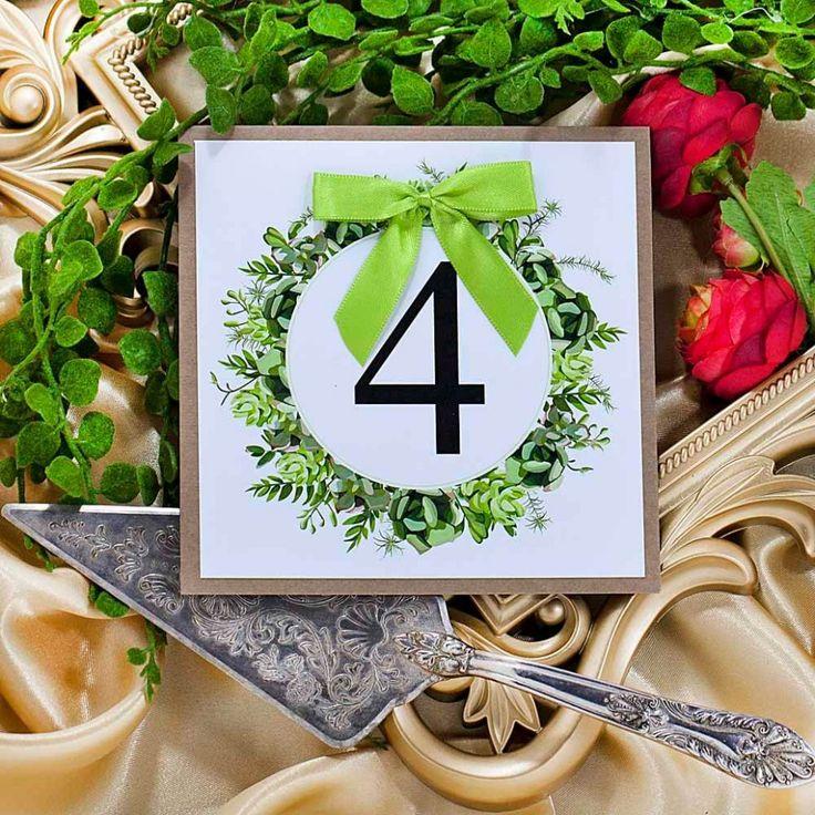 Numerek na stół weselny zielony wianek