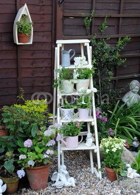 Ladder planter - I should try this with my wooden step ladder.