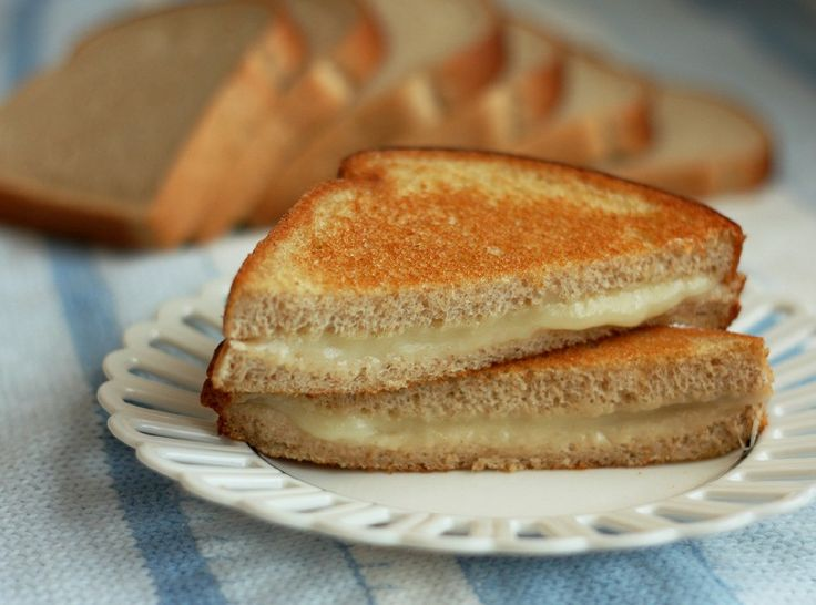 Healthy grilled cheese with whole wheat bread and a choice among healthier cheeses - Made with olive oil (still fried) instead of butter